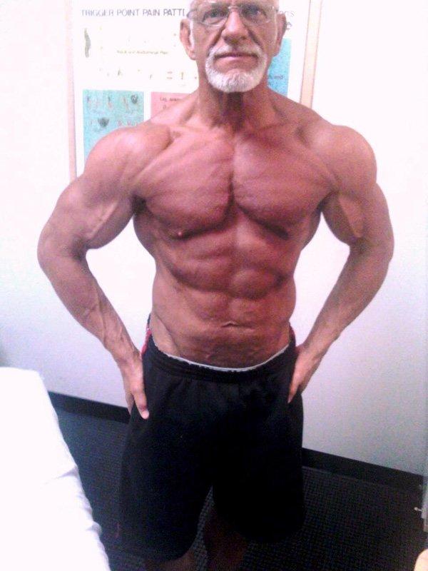 old male white 6-pack white hared bodybuilder