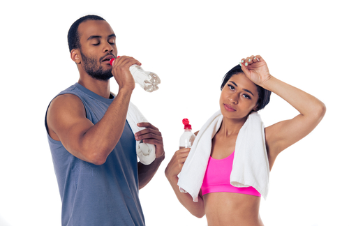 resting bodybuilding couple