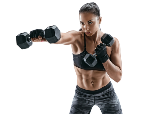 athletic woman holding dumbbell