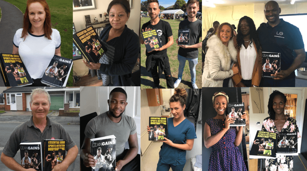 group of people holding fitness lean gains fitness books