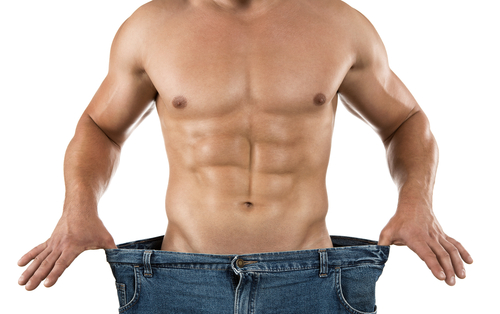 model demonstrating fat loss